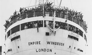 The Empire Windrush arriving at Tilbury in 1948 with immigrants from Jamaica.