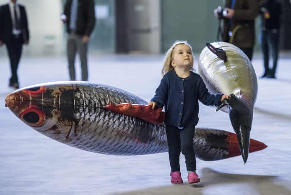 A young visitor to Philippe Parreno's Turbine Hall installation.