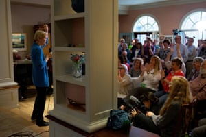 Democratic presidential candidate Senator Elizabeth Warren speaks to voters at a house party in Amherst.
