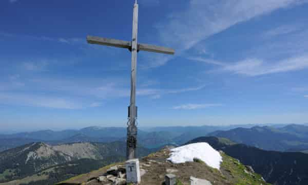 The Schafreuter summit cross before it was vandalised by the suspected axeman.