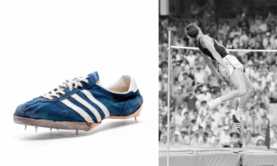 Dick Fosbury at the 1968 Olympics and his Adidas Specials.