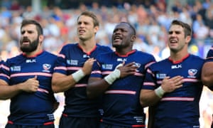 USA Men's Eagles stars Phil Thiel, Blaine Scully, Takudzwa Ngwenya and Seamus Kelly sing the national anthem before the game against Samoa.