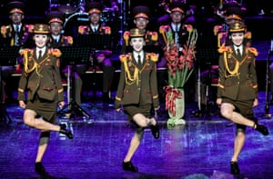 The Ensemble of Korean People's Army of North Korea performs at the Russian Army Theatre during an international military music festival. Moscow