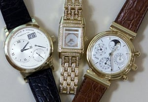 Three time pieces manufactured by Richemont-owned watch brands.