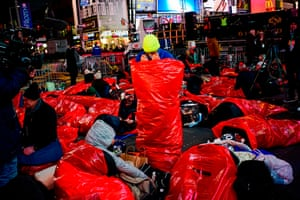New York, US: people get ready to sleep outside for The World's Big Sleep Out event in Times Square to raise money for homeless people