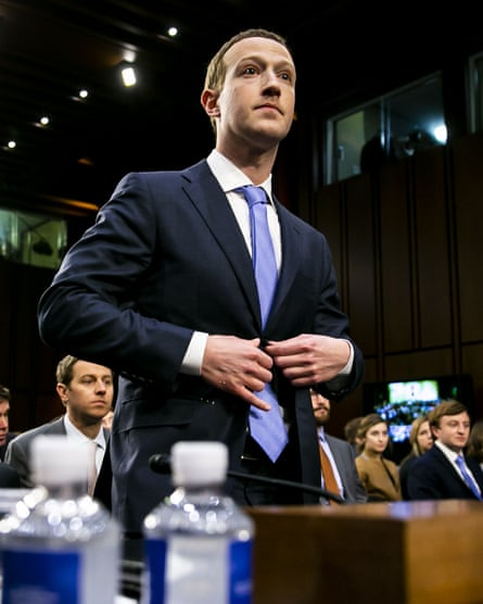 Seldom seen: Mark Zuckerberg, for once without his usual Silicon Valley T-shirt. Special case, he was testifying before a Senate committee, 10 April 2018.