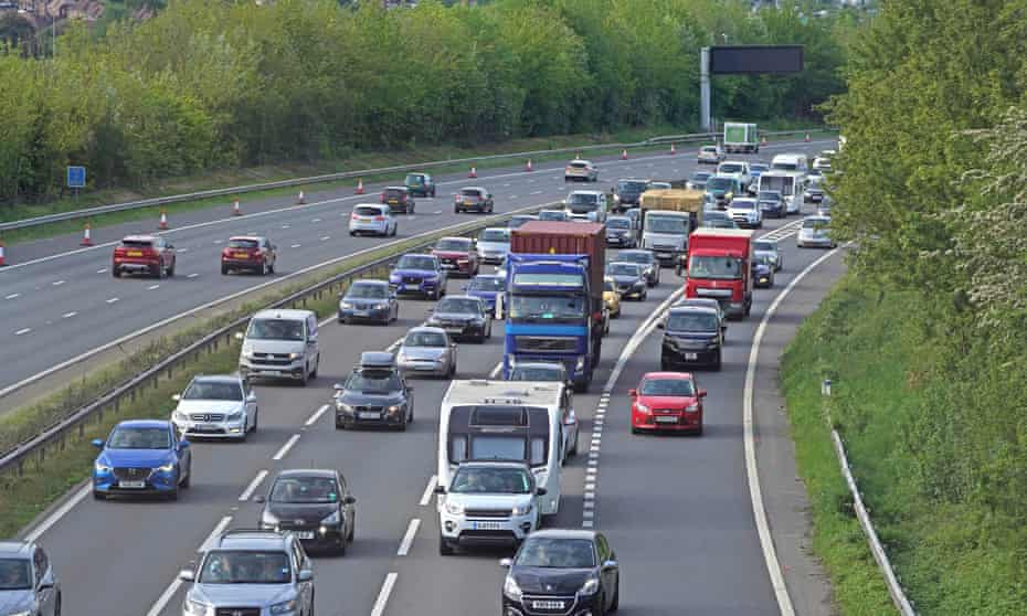 Traffic on the M3 southbound near Winchester, Hampshire, heading towards the coast