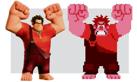 Unrestricted by the constraints of a game's tedious lore … two images from the Wreck-it Ralph Disney film (2012).