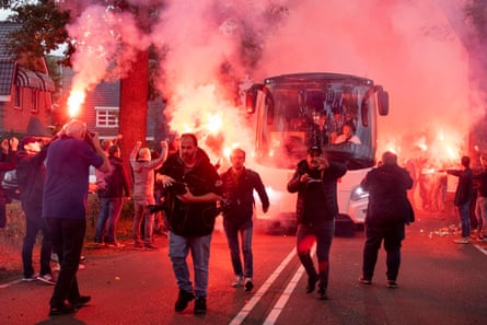 Willem ll fans get their pyro on before the match.