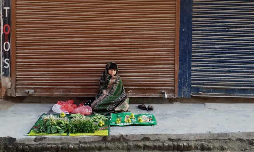 A child selling vegetables in Kathmandu, Nepal.