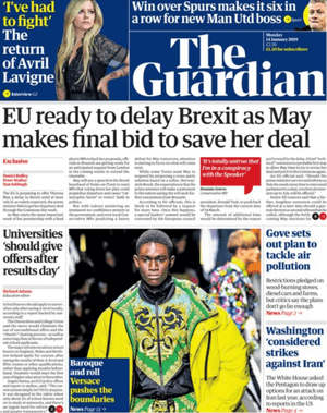 Guardian front page 13 January 2018
