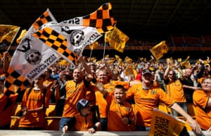 Wolves fans are in a good mood during their League One match against Carlisle United in May 2014.