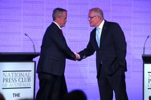 Scott Morrison and Bill Shorten shake hands after the third and final election debate