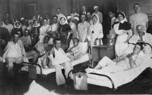 Sister Pritchard, third from the right, Red Cross sister Madame Genesty second from the right and Sister Bassetti on the right at a hospital in Cairo, Egypt, 1915.