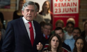 Gordon Brown delivers speech at a Remain event in Leicester.