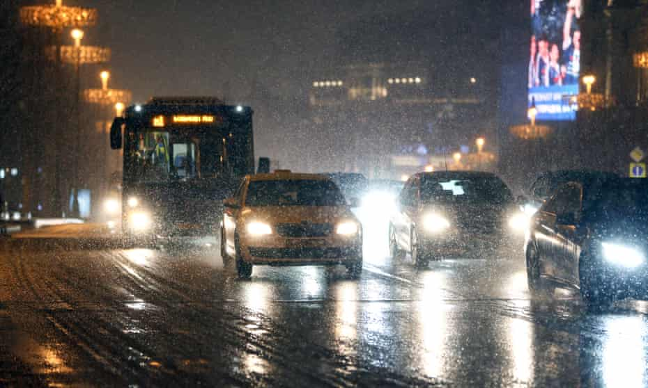 A Moscow road during a snowfall. Russia's rate of road fatalities is nearly double that of the US.