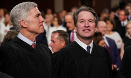 Supreme court justices Neil Gorsuch and Brett Kavanaugh attend the State of the Union address at the Capitol in Washington DC on 5 February 2019.