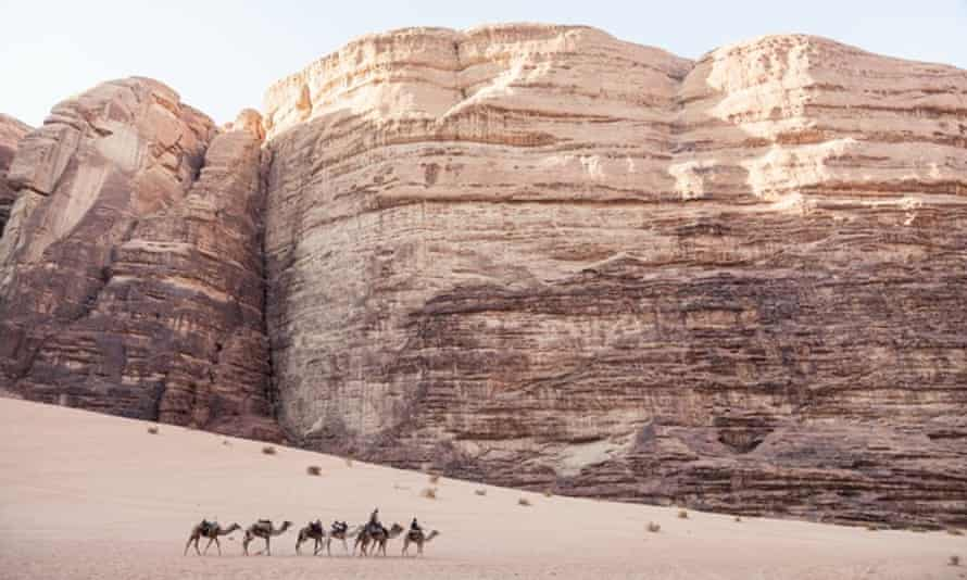 Camel caravan in Wadi Rum desert in Jordan