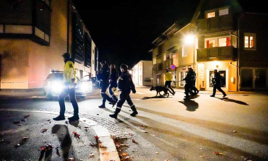 Police officers cordon off the scene in Kongsberg.