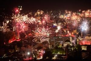 Sarajevo, Bosnia and HerzegovinaFireworks light the night sky during Football Club Zeljeznicar's celebration of its 100th birthday in the Bosnian capital of Sarajevo.