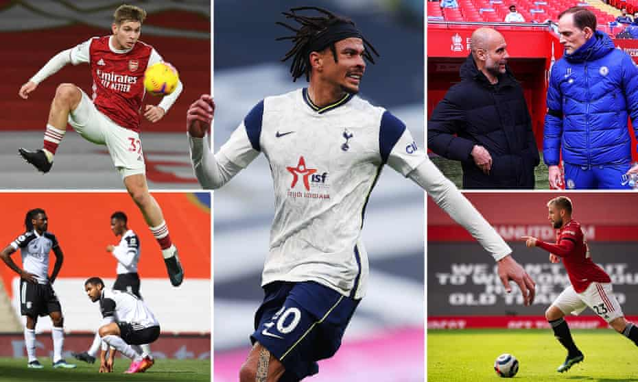 Clockwise from top left: Arsenal's Emile Smith Rowe, Tottenham's Dele Alli, Pep Guardiola and Thomas Tuchel at Wembley, Man Utd's Luke Shaw and Fulham players brace for relegation.