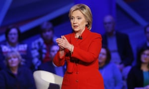 Hillary Clinton at the Democratic forum on 25 January.
