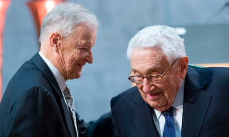 Zbigniew Brzezinski with Henry Kissinger, right, at the Nobel peace prize forum in Oslo, Norway, last year.