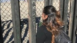 Soledad Castillo at border between California and Tijuana.