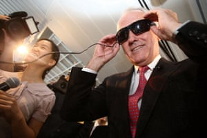 """The Prime Minister Malcolm Turnbull at a campaign event to announce funding and support for STEM ( Science, Technology, Engineering and Mathematics) here he tries on prototype glasses """"Aipoly"""" that recognises and identifies objects for visually impaired people, Monday 6th June 2016."""
