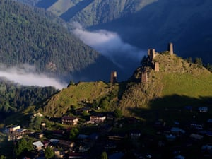 Ancient defensive towers sprout from the top of the village of Omalo in Tusheti national park, which borders the Russian republics of Chechnya and Dagestan
