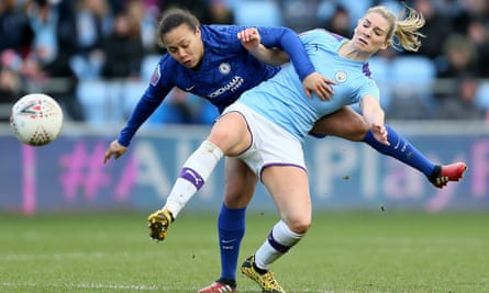 Chelsea's Drew Spence (left) and Manchester City's Gemma Bonner in action during a Women's Super League game in February.