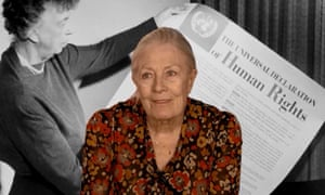 Vanessa Redgrave in Sea Sorrow, in front of Eleanor Roosevelt announcing the 1948 Universal Declaration of Human Rights.