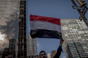 People from Yemen living in New York, held a protest against the Yemen War in front of the UN Headquarter.