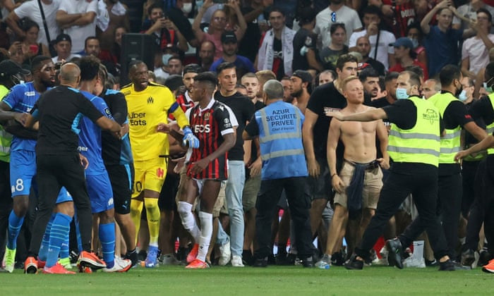 Nice v Marseille descends into chaos as fans heap more shame on Ligue 1    Ligue 1   The Guardian