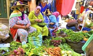 True colours: vendors at the vegetable market in Tangier.