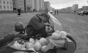 Selling cabbages from a motorcycle in Magnitogorsk, 1993.