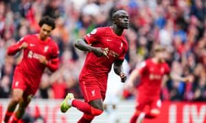 Sadio Mane celebrates his goal.