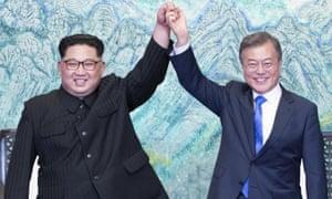 North Korean leader Kim Jong-un and South Korean President Moon Jae-in at their meeting in April