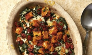 Yotam Ottolenghi's grilled creamed spinach with migas