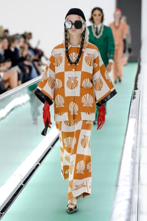 Model on the catwalk at the Gucci show, as part of Milan Fashion Week