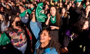 Chilean women demonstrate in Santiago on Wednesday for abortion rights.