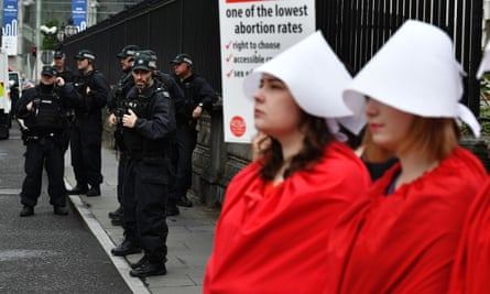 Police Service of Northern Ireland officers at the scene of the protest