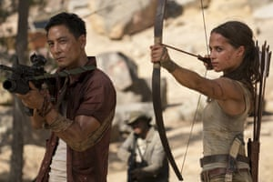 Daniel Wu, left, and Alicia Vikander in Tomb Raider.