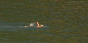 Boris Johnson swimming at Carbis Bay