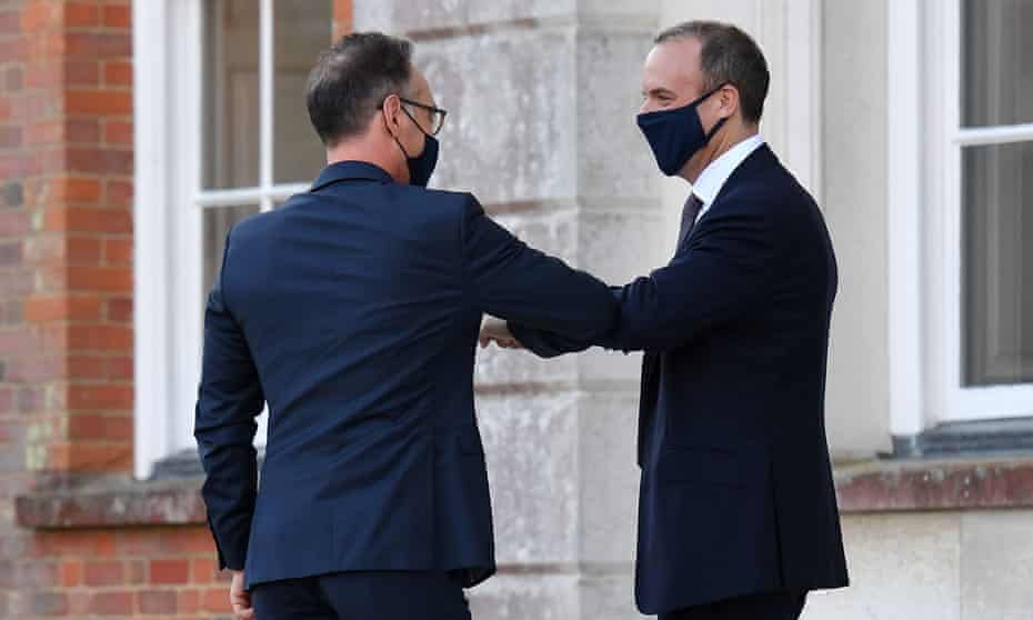 Foreign secretary Dominic Raab (right) greets German foreign minister Heiko Maas for an E3 Ministers meeting at Chevening House in Sevenoaks, Kent.