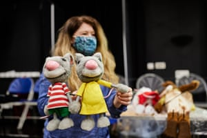 Judith Hope delivers puppets on the first day of rehearsals