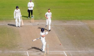 Lancashire's Steven Croft is bowled out by Middlesex's James Harris.