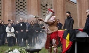 Major Sumner (Uncle Moogy) conducts a smoking ceremony at the Grassi museum in Leipzig