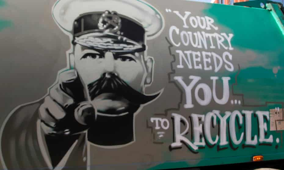 Wimbledon, London, UK. 27th April, 2015. A waste management company named Dirty Harry uses a poster of Lord Kitchener to urge the public to recycle.