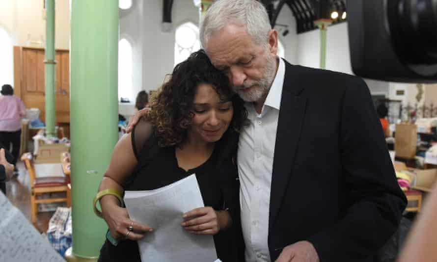 Jeremy Corbyn comforts a resident